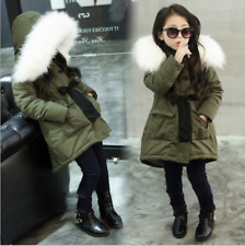 Girls Boys Fur Hooded Tops Jacket Padded Coat Kids Long Thick Warm Jacket Parkas