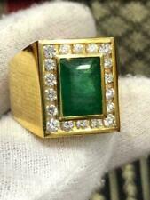 2.00Ct Radiant Cut Emerald Diamond Men's Wedding Love Ring 14K Yellow Gold Fin