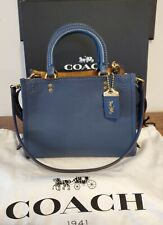Coach Rogue 25 Dark Denim Blue Leather Shoulder Bag