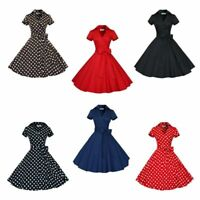 50s 60s Retro Hepburn Style V-Neck Swing Lapel Rockabilly Housewife Pinup Dress
