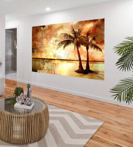 Painting Art Palm Tree Island tropical sun ocean sea Canvas landscape Australia