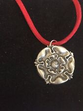 "TUDOR ROSE DR54 Made From Fine English Pewter On a 18"" Red Cord Necklace"