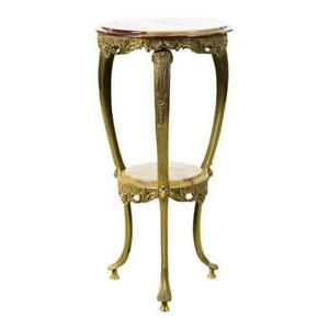 Antique French Brass Stand with round Onyx top