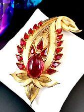 EXQUISITE 1965 CROWN TRIFARI JEWELS OF INDIA RUBY RED RHINESTONE JIGHA BROOCH