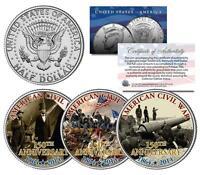 AMERICAN CIVIL WAR * 150th Anniversary * 1864-2014 JFK Half Dollar US 3-Coin Set
