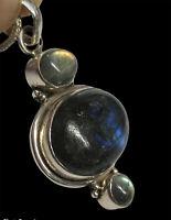 "Sterling Silver 925 Labradorite Necklace 20"" 16 Grams"