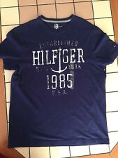 TOMMY HILFIGER Men's NAVY LOGO PRINTED COTTON TSHIRT Small Freeshipping NWOT