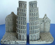 """Leaning Tower of Pisa Italy Theme 7"""" Tall Plaster Mold Bookends TMS 2002"""