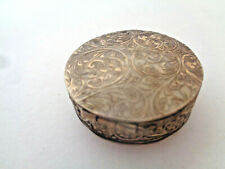 VINTAGE STERLING SILVER ETCHED PILL BOX (FREE SHIPPING)