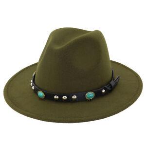 Women's Men's Wool Panama Hats Wide Brim Jazz Fedora Caps Turquoise Leather Band