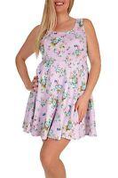 MaiTai Plus Size (1X, 2X, 3X) Lavender Floral Print Sleeveless Mini Flare Dress
