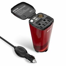 BESTEK 200W Car Power Inverters DC to AC 110V Mobile Auto USB Charger Cup Holder
