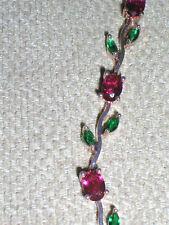 ROSE GOLD RUBY EMERALD ZIRCON FLOWER BRACELET 7.5 INCHES WOMENS BRACELETS NEW