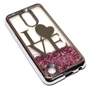 For LG Aristo / MS210 (LV3) - Silver LOVE Heart Pink Glitter Stars Liquid Case