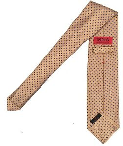 NEW $295 Isaia Pure Silk 7 Fold Tie!  Gold With Hint of Rose   Blue Polka Dots
