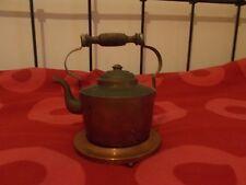 Antique vintage Scandinavian copper coffee pot, very old, with copper base