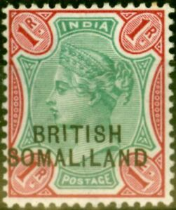 SOMALiLAND 1903 1R Green & Aniline Carmine SG21var Short I on SOMALiLAND Fine