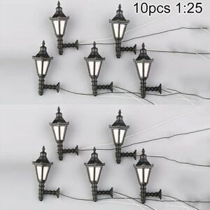 10x G Scala LED Muro Luci Modello Street Lampade Ferrovia Paletti 1:25 Decor
