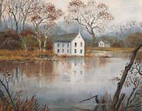 11X14 PRINT OF PAINTING ART RYTA HOUSE COTTAGE FOLK ART AUTUMN FINE WALL ART