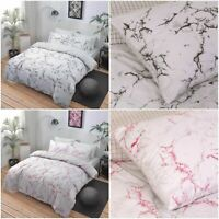 Sleepdown Marble Grey & Pink Reversible Duvet Cover Set with Pillowcases