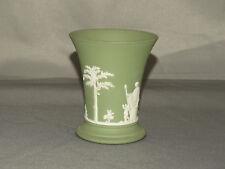 Vintage Wedgwood Sage Green Arcadian Trumpet Vase Jasperware 1975