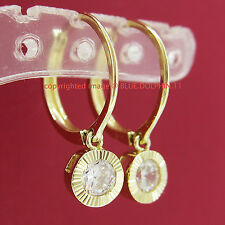 Genuine Real Solid 9ct Yellow Gold Round Hoop Dangle Earrings Simulated Diamonds