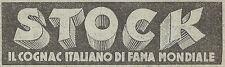 Y3129 STOCK il cognac italiano di fama mondiale - Pubblicità del 1939 - Old ad