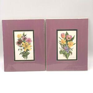 Set of 1996 Joan Heflin Rankin Watercolor Floral 4x6 Prints Double Matted 8x10