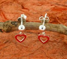 Red Enamel Heart Dangle Earrings-Sterling Silver- Kids,Cute,Small,Heart,Drop,New