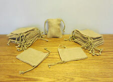 "24 BURLAP JUTE SACKS WITH DRAWSTRINGS 5"" BY 6"" WEDDING PARTY FAVOR GIFT BAGS"