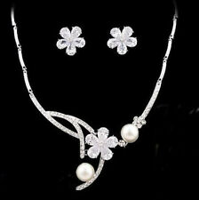 White Pearls Floral Wedding Bridal Jewellery Set Made with Swarovski Crystals