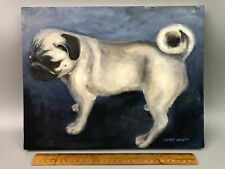 Original Oil on Canvas PUG DOG Painting by American Artist Lawn Walker