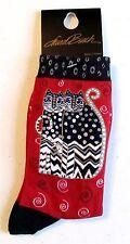 "Laurel Burch ""Polka Dot Gatos"" Red/Blk Cat Socks * One Size Fits Most"