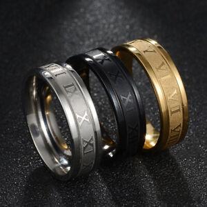 Fashion Roman Numeral 6MM Titanium Stainless Steel Round Rings Men Size 6-12