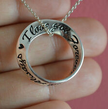925 Sterling Silver I Love You Forever and Always Message Charm Necklace