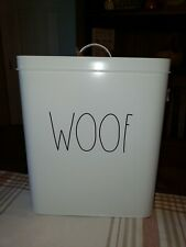 """Rae Dunn White Large """"Woof """" Tin Canister Dog Food /Treats Holder"""