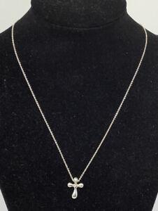 """Tiffany & Co Elsa Peretti Sterling Silver Cross Pendant Necklace 16"""" (2.62g)"""