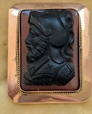 Antique Victorian Agate Cameo 9ct Gold Brooch Pin Perfect to convert into a Ring