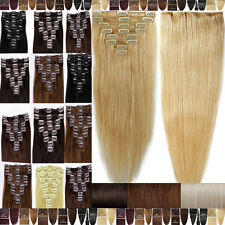 Premium Quality Clip In Remy Human Hair Extensions Full Head 100g-120g Blonde C8