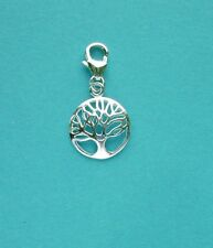 Clip On 925 Solid Sterling Silver TREE OF LIFE Charm with TRIGGER CLASP finding