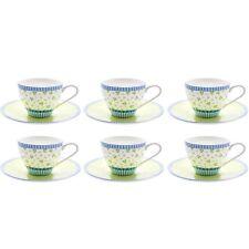 6er Set Lilly Kaffeetasse mit Untertasse Porzellan 250 ml Teetasse Unterteller