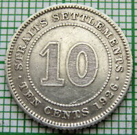MALAYSIA STRAITS SETTLEMENTS GEORGE V 1926 10 CENTS, SILVER