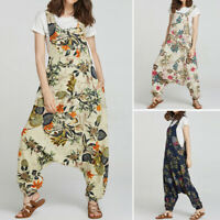 Oversize Femme Coton Floral Sans Manche Combinaison Loose Sarouel Pantalons Plus