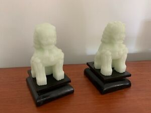 Vintage Milk Glass Foo Dog Ornaments, Foo Dogs on Stands (2)