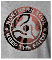 Men's Northern Soul Keep The Faith Tamla Motown Grey T-Shirt Free UK Delivery