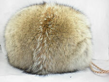 Real Coyote Fur Handmuff New made in usa. Hand muff down satin lining