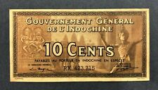 French Indochina-10 Cents-Nd (1939)-Pick 85e-S/N Rx 423.215 , Xf .