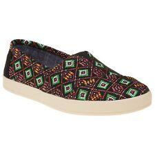 New Womens Toms Black Multi Avalon Textile Shoes Canvas Slip On