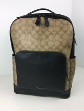 COACH F38755 Graham Signature Laptop Backpack Book Bag Coated Canvas Tan NWT