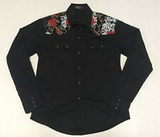 La Rocka Di Londres Mens Long Sleeve Shirt Skull Roses Pearl Snap Black Sz Large